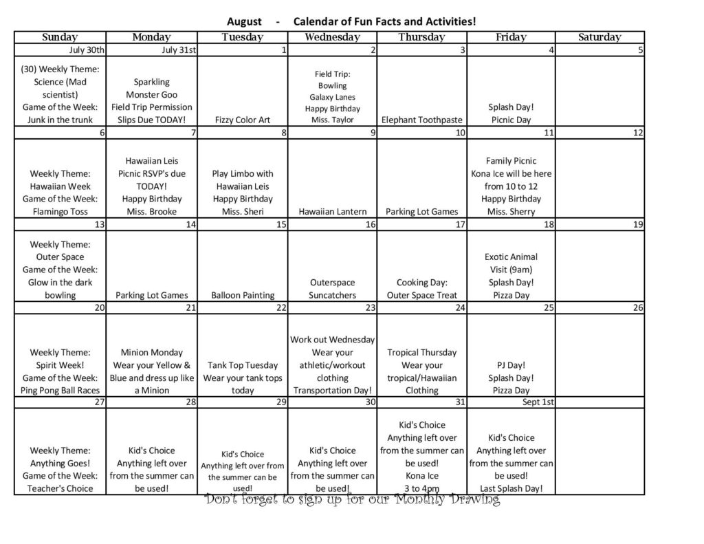 Don't miss any of the activities, excitement and fun at Brandi's Place! Just check our Calendar of Events for August 2017!