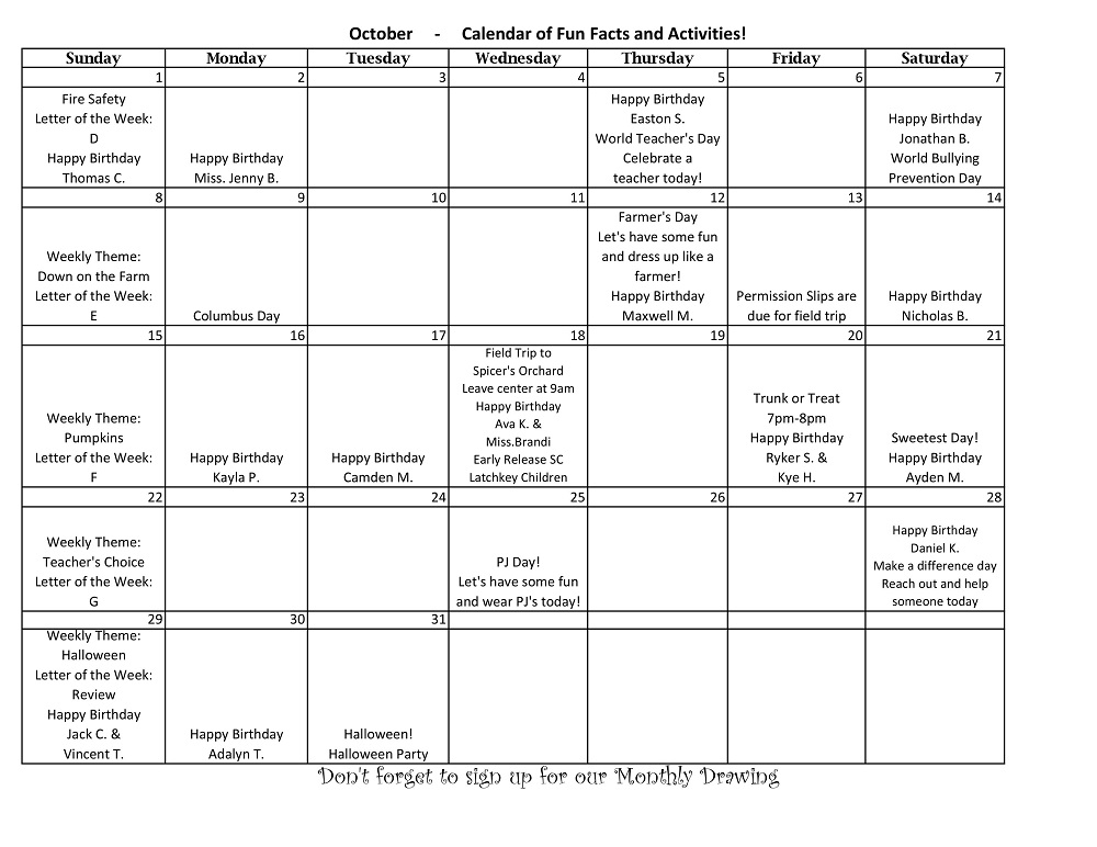Brandi's Place Calendar of Events for October 2017
